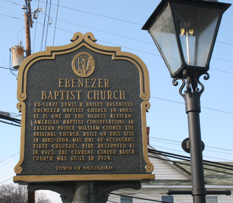 Historic marker for Ebenezer Baptist Church, Occoquan, VA.