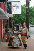 Historical reenactors in front of Jerry's Occoquan Jewelers