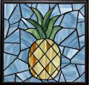"""Pineapple, blue with black"" by Diann Root – Mosaic"