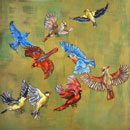"""Leaving the Feeder,"" oil, 24 x 24"" by Susan Lawrence Norman"