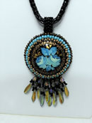 "Pam Troutman's ""Blue Roses"" Russin Pendant, Bead Embroidered Black Lacquer Russian Pendant Necklace with fringe"
