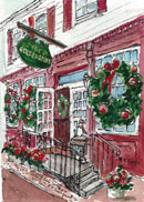 """Christmas at the Golden Goose"" by Mary Rose Janya – Watercolor"